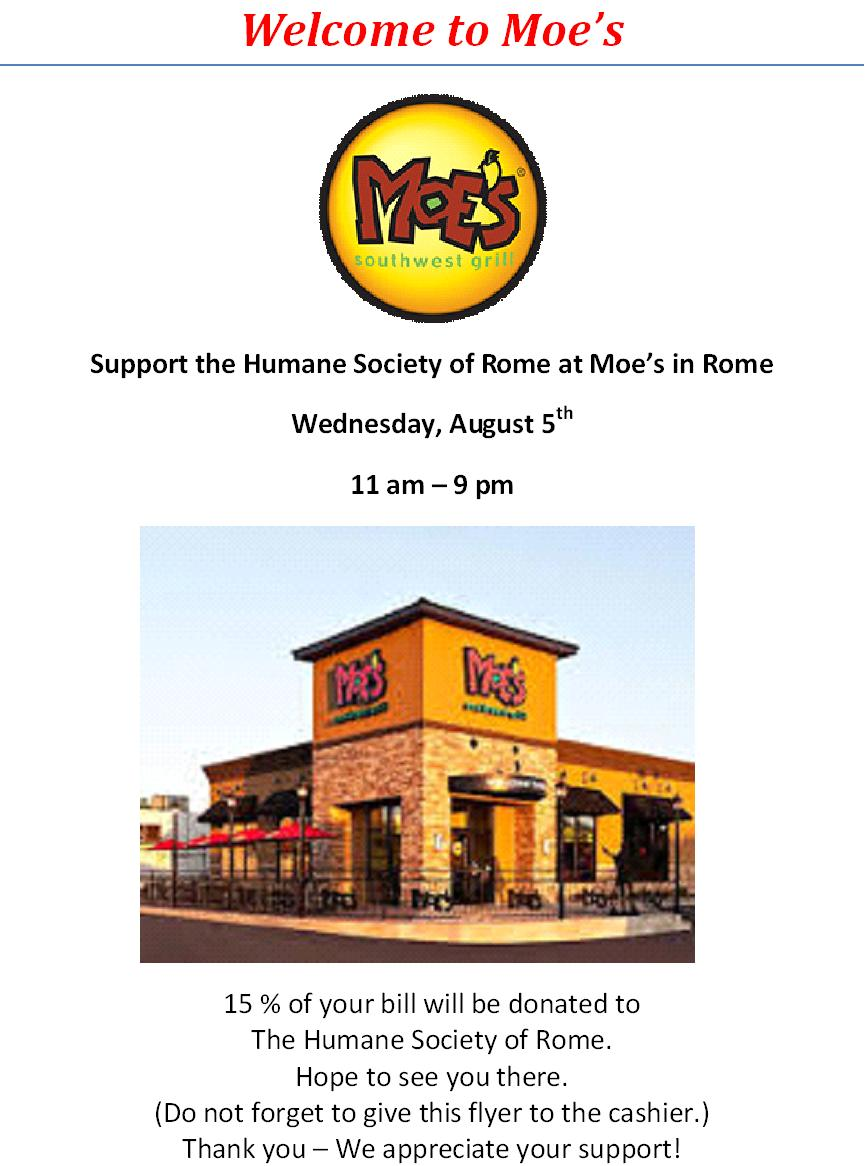 Dining for Dogs and Cats too! @ Moe's  | Rome | New York | United States