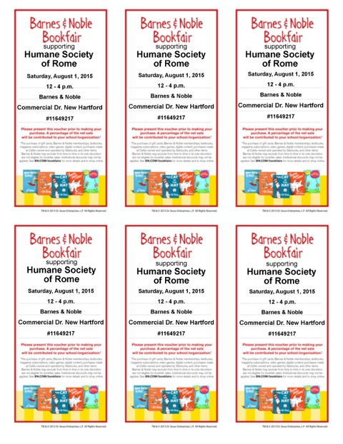 2015 Dr Seuss Bookfair Vouchers