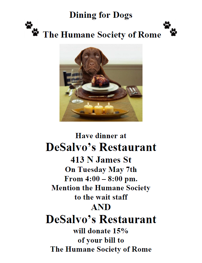 Dining for Dogs and Cats Too @ DeSalvo's Catering and Restaurant